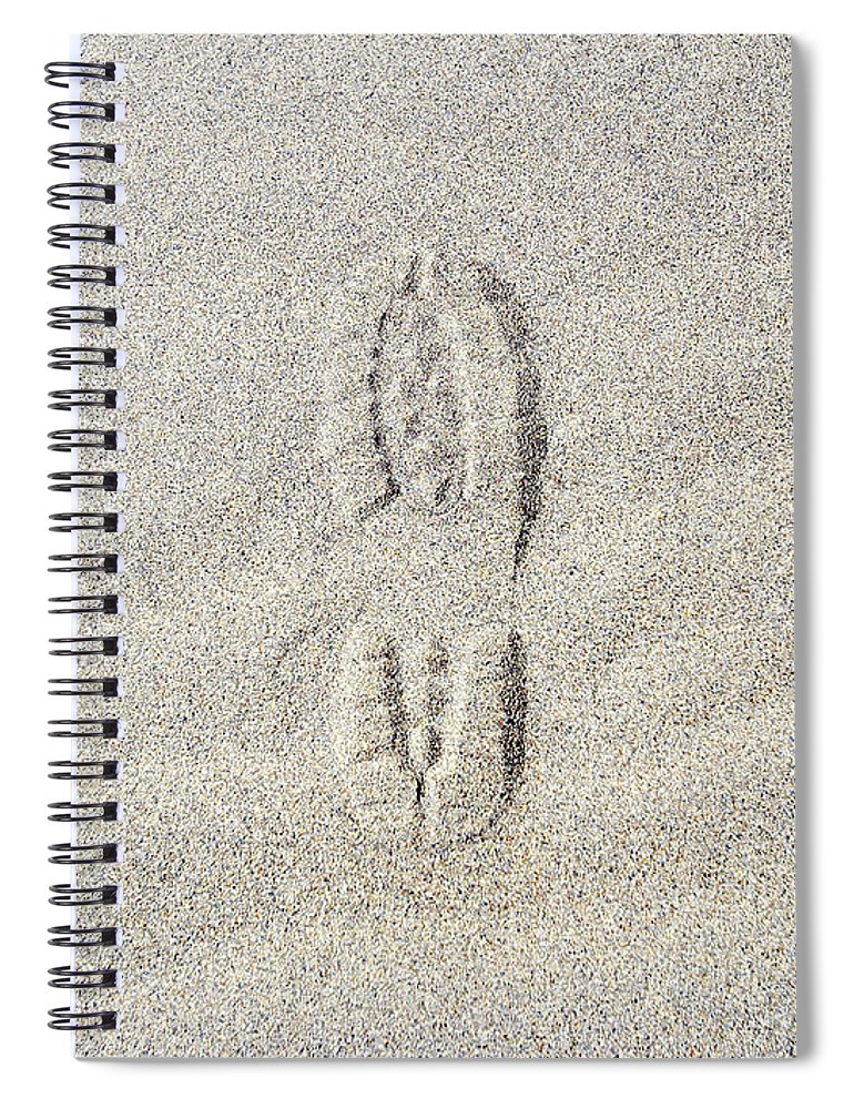 California Spiral Notebook featuring the photograph Shoe Print In Sand by Thomas Northcut