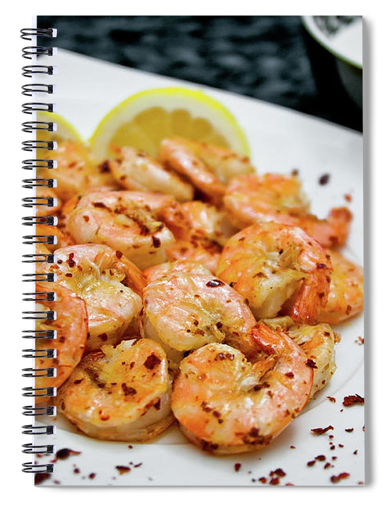 Savory Food Spiral Notebook featuring the photograph Shrimps With Chili by Wojciech Wisniewski