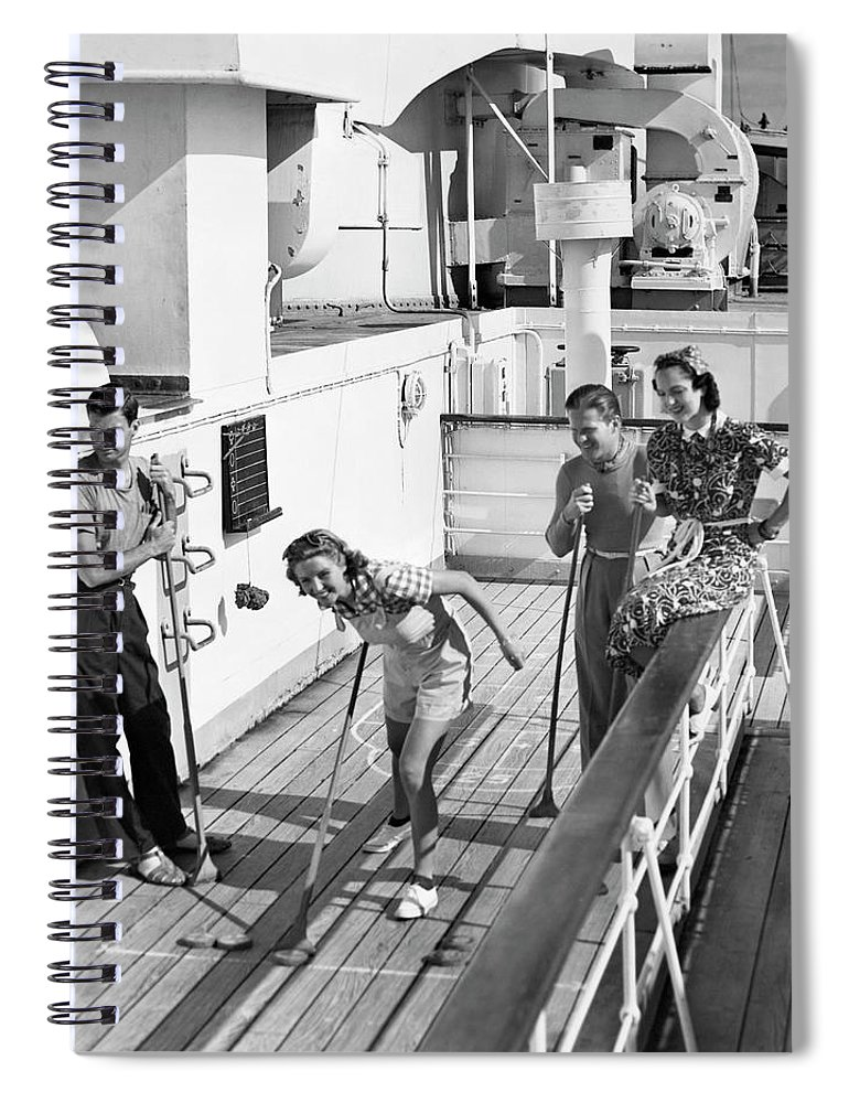 Heterosexual Couple Spiral Notebook featuring the photograph Shuffleboard Players by George Marks