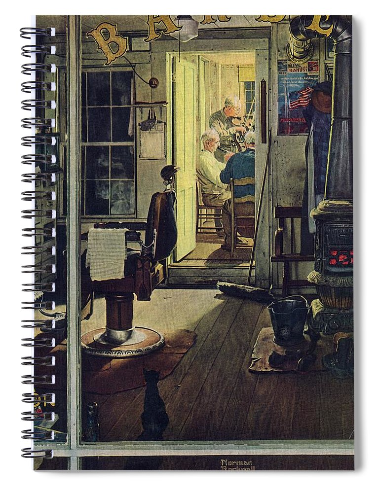 Barbers Spiral Notebook featuring the drawing Shuffleton's Barbershop by Norman Rockwell
