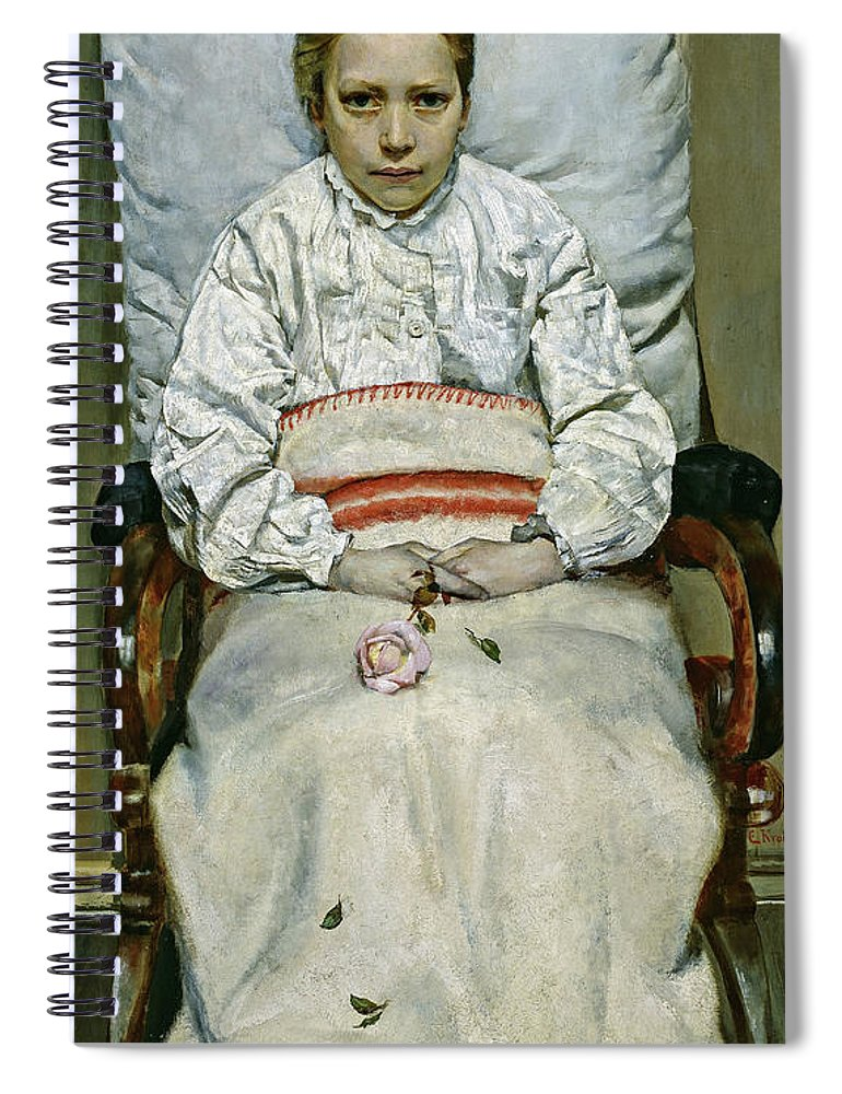 Christian Krohg Spiral Notebook featuring the painting Sick Girl, 1881 by Christian Krohg