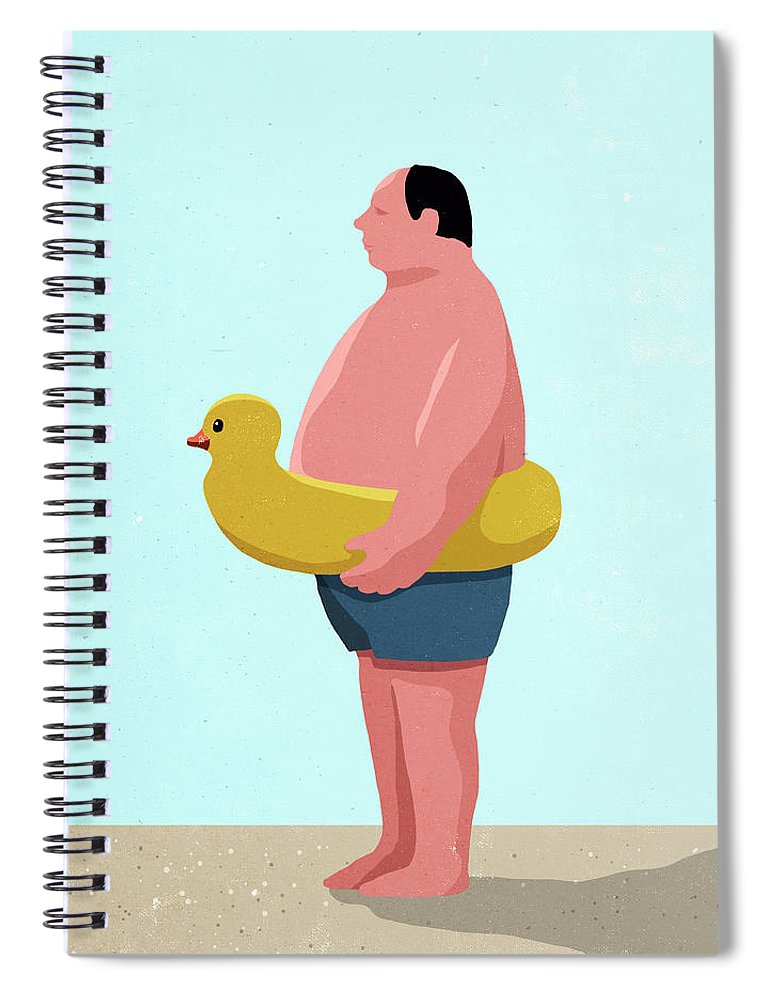 People Spiral Notebook featuring the digital art Side View Of Man Wearing Inflatable by Malte Mueller