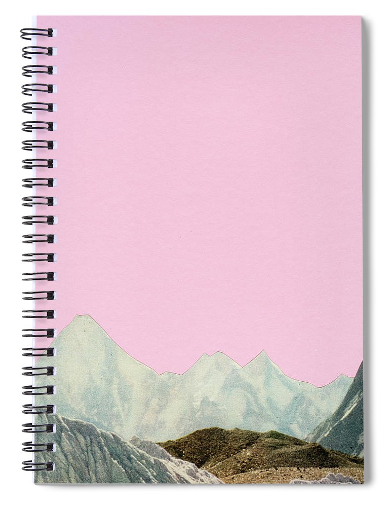 Mountains Spiral Notebook featuring the mixed media Silent Hills by Cassia Beck