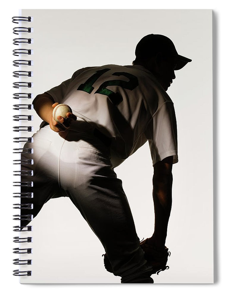 Three Quarter Length Spiral Notebook featuring the photograph Silhouette Of Baseball Pitcher Holding by Pm Images
