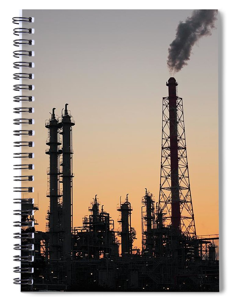 Built Structure Spiral Notebook featuring the photograph Silhouette Of Petrochemical Plant by Hiro/amanaimagesrf