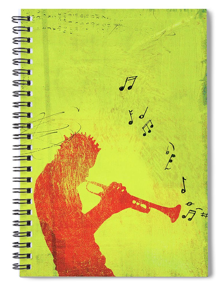 One Man Only Spiral Notebook featuring the digital art Silhouette Of Trumpet Player by Darren Hopes