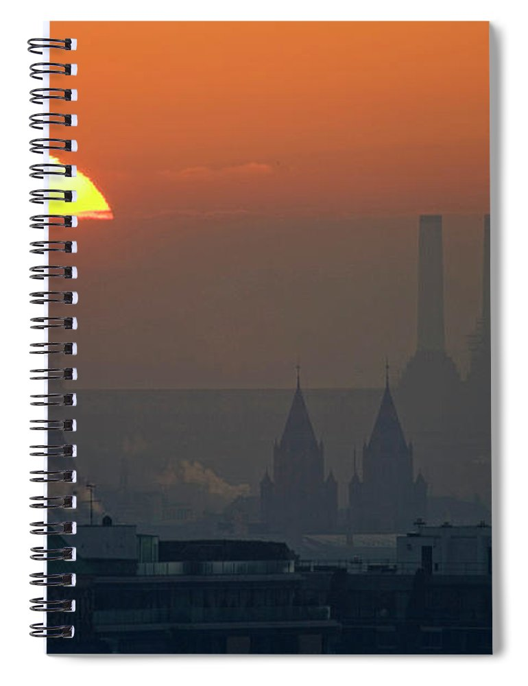 Tranquility Spiral Notebook featuring the photograph Silhouettes Of Chimneys And Spires by James Burns