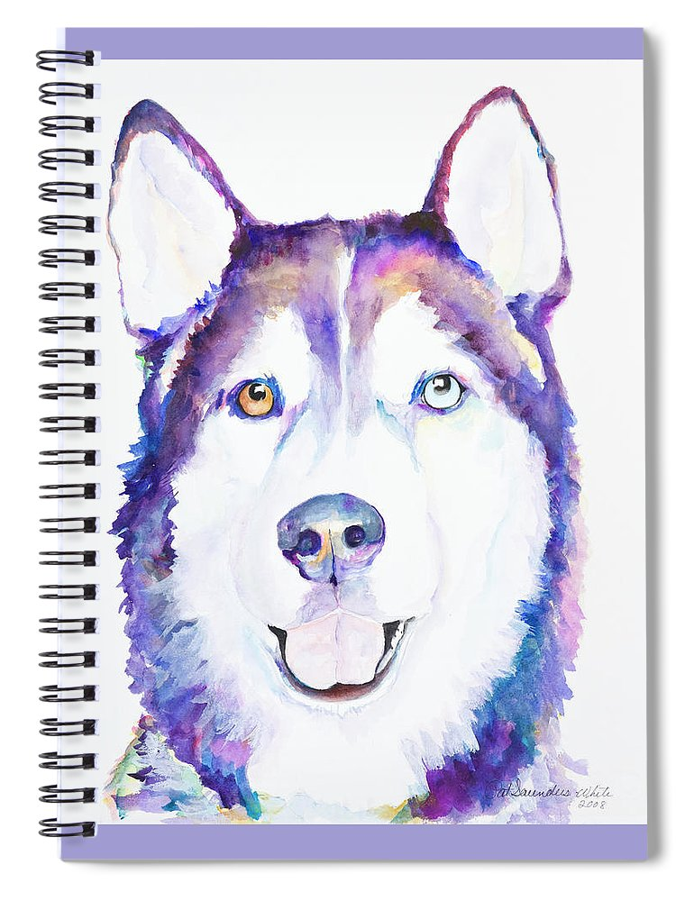 Siberian Husky Spiral Notebook featuring the painting Simba by Pat Saunders-White