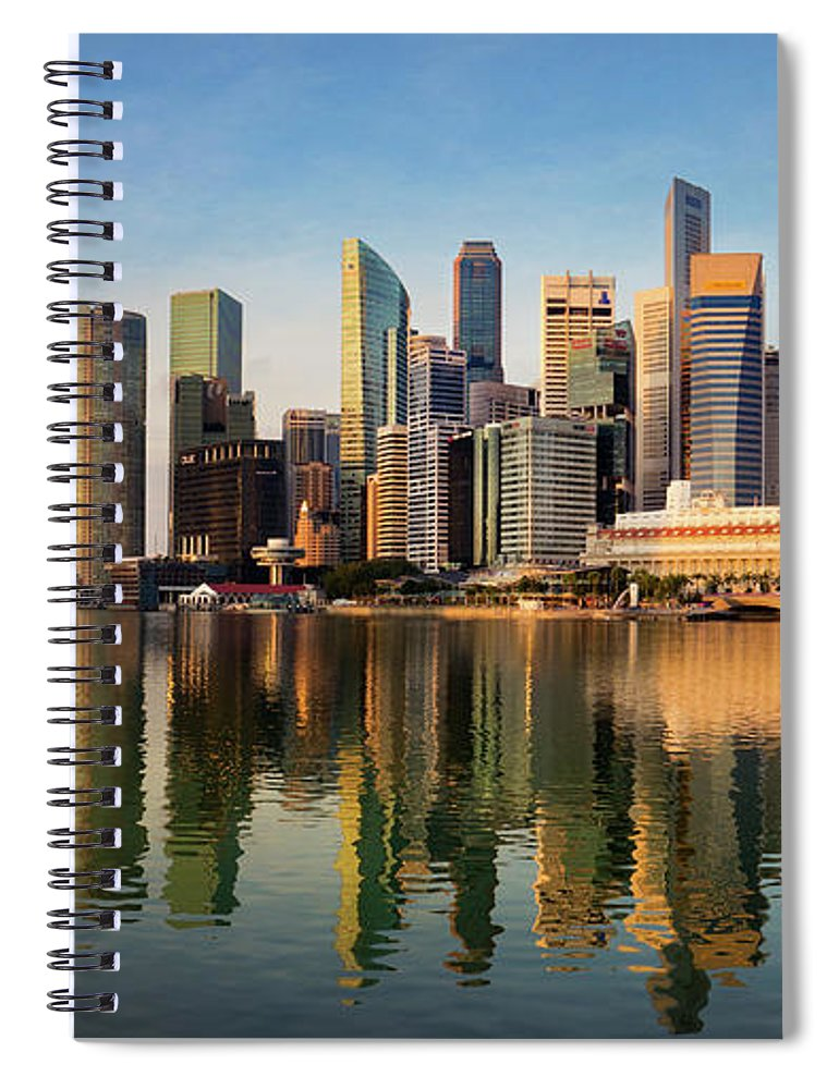 Financial District Spiral Notebook featuring the photograph Singapore Financial Skyline, Singapore by Travelpix Ltd