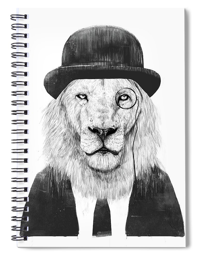 Lion Spiral Notebook featuring the mixed media Sir Lion by Balazs Solti