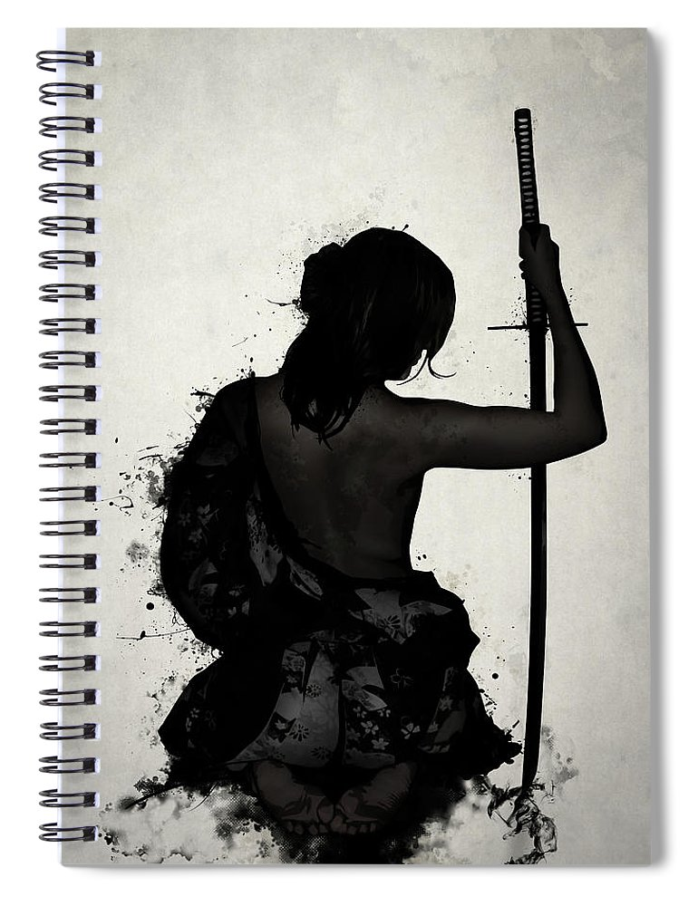 Female Spiral Notebook featuring the digital art Female Samurai - Onna Bugeisha by Nicklas Gustafsson