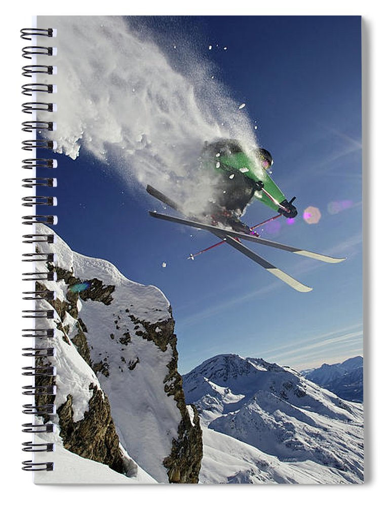 Young Men Spiral Notebook featuring the photograph Skier In Midair On Snowy Mountain by Michael Truelove