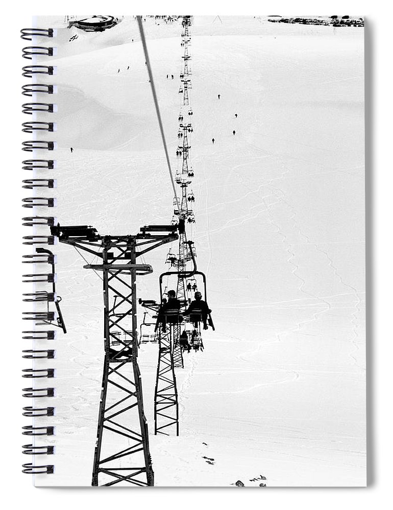 Skiing Spiral Notebook featuring the photograph Skiers On Ski Lifts, Farellones by Hans Neleman