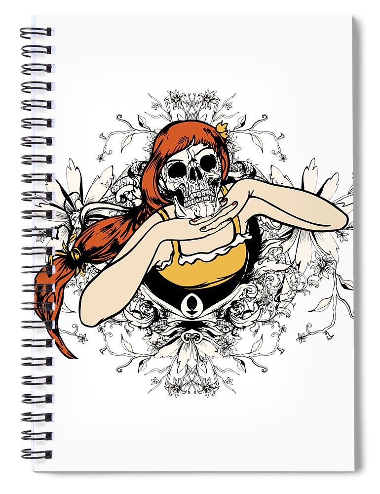 Flower Spiral Notebook featuring the digital art Skull Lady by Passion Loft