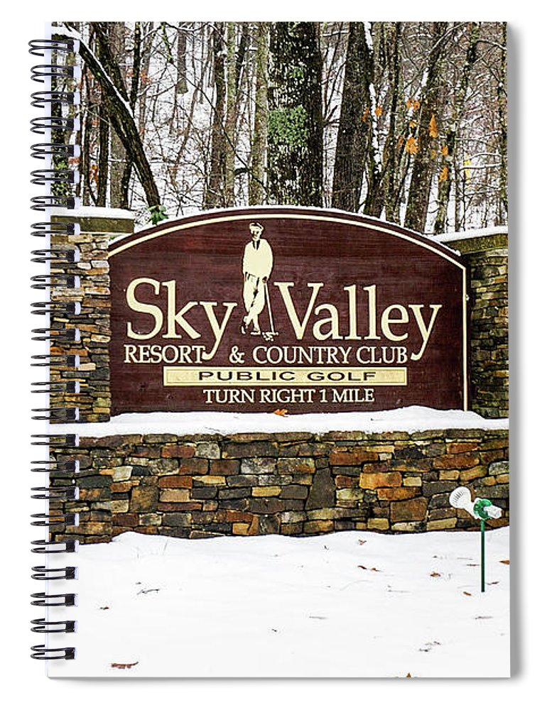 Welcome Spiral Notebook featuring the photograph Sky Valley Georgia Welcome Sign In The Snow by Seth Solesbee
