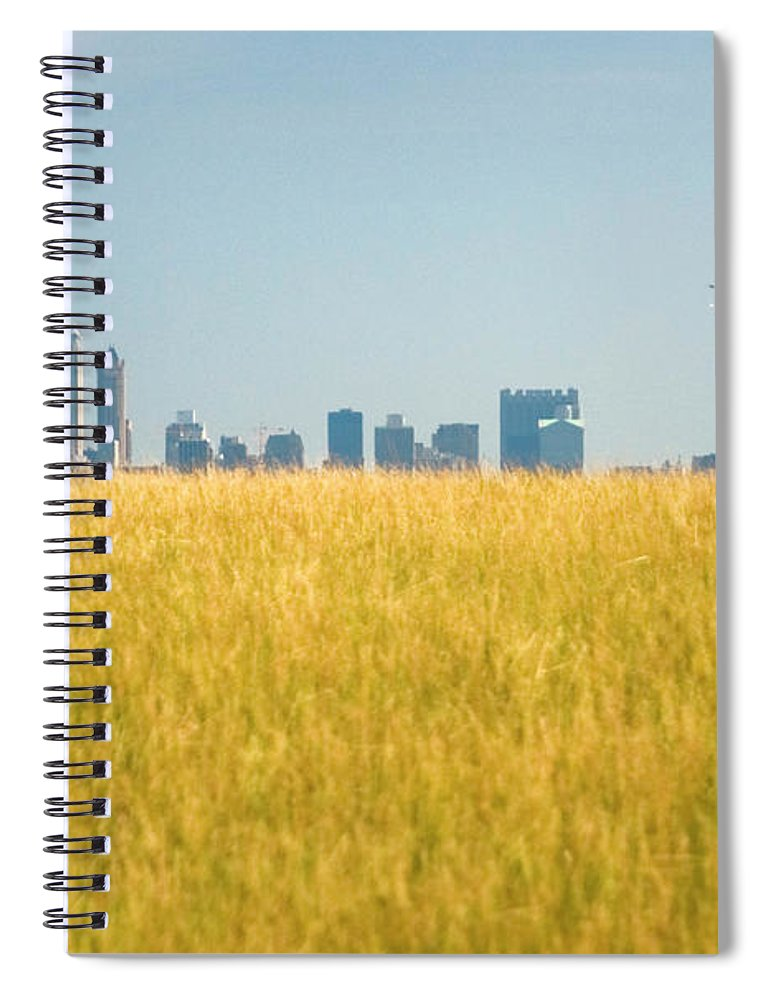 Grass Spiral Notebook featuring the photograph Skyscrapers Arising From Grass by By Ken Ilio