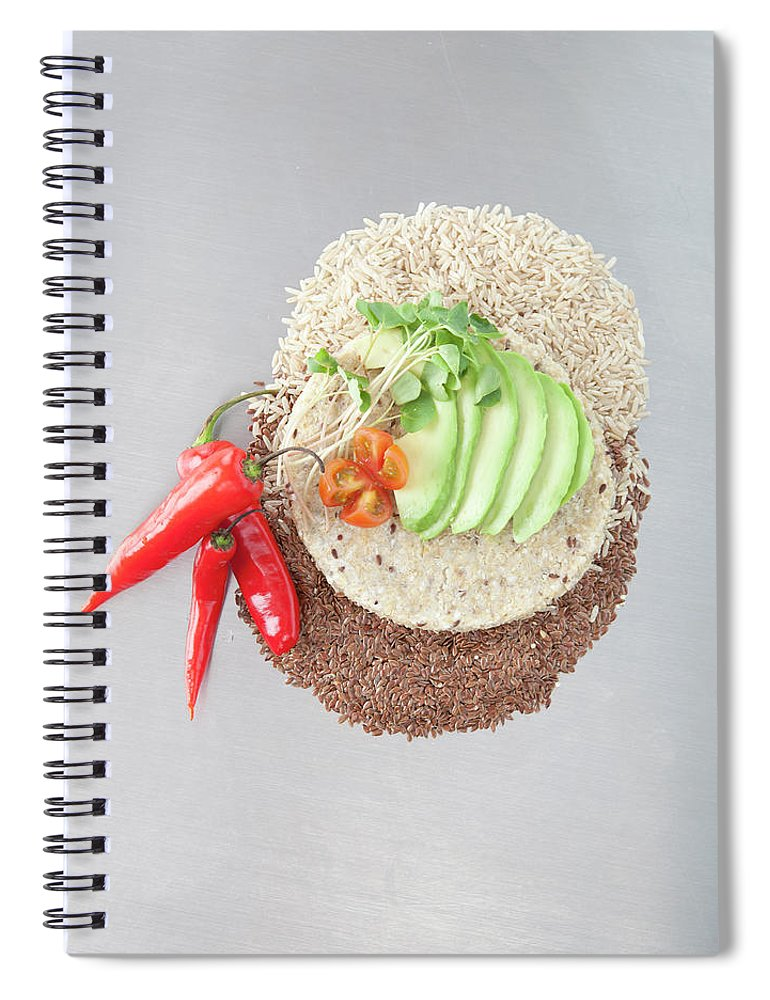 Flax Seed Spiral Notebook featuring the photograph Sliced Avocado And Peppers With Grains by Laurie Castelli
