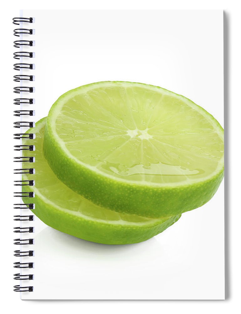 White Background Spiral Notebook featuring the photograph Slices Of Fresh, Juicy, Freshly Cut Lime by Rosemary Calvert