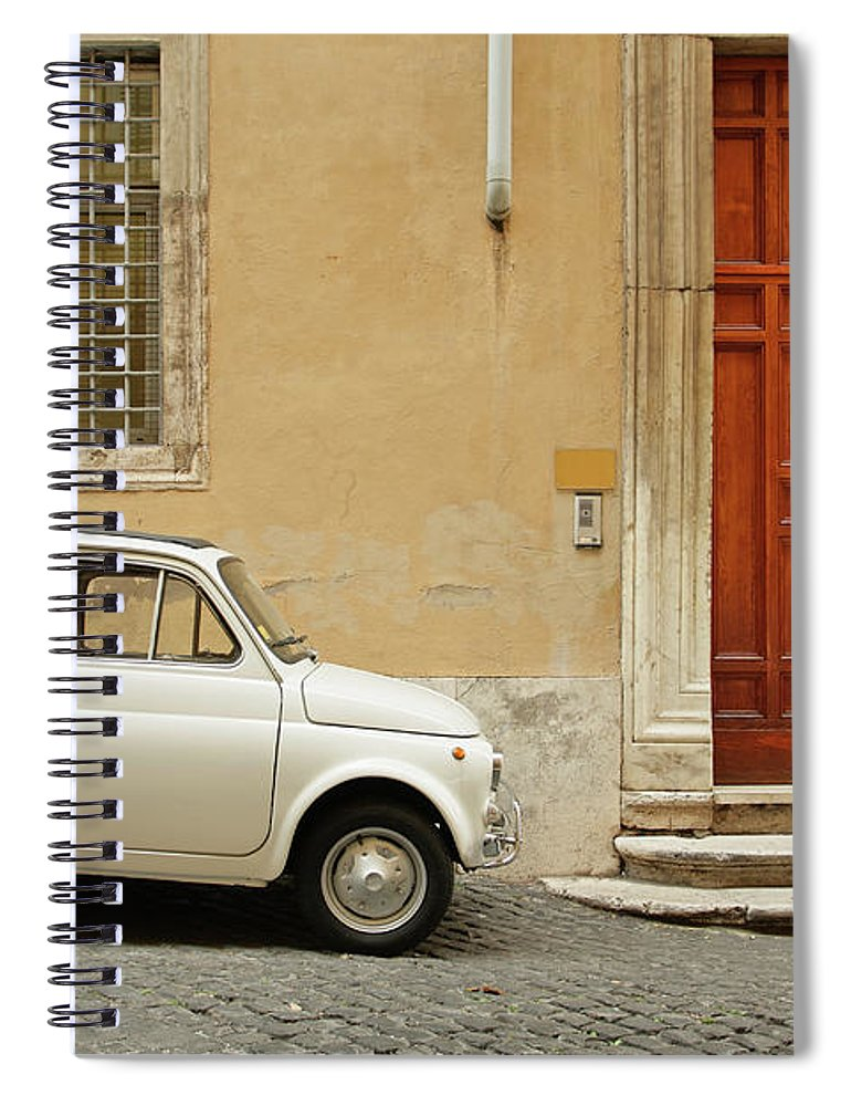 Steps Spiral Notebook featuring the photograph Small Coupe Parked Near A Doorway On A by S. Greg Panosian