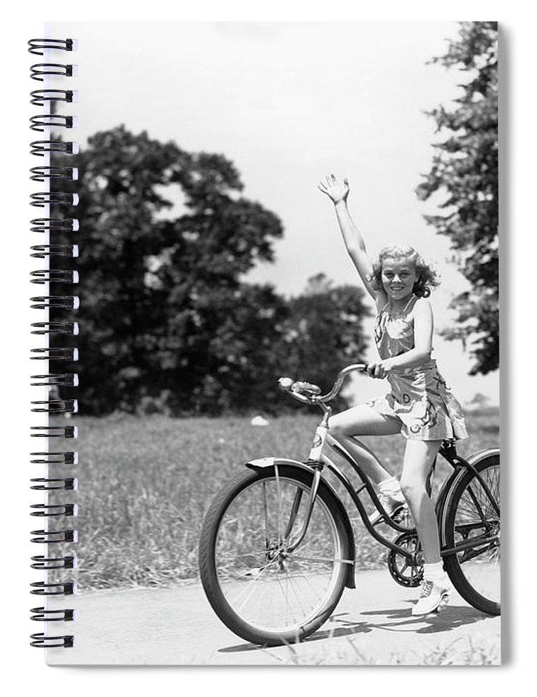 Bicycle Seat Spiral Notebook featuring the photograph Smiling Girl Wearing A Jumper Short Set by H. Armstrong Roberts