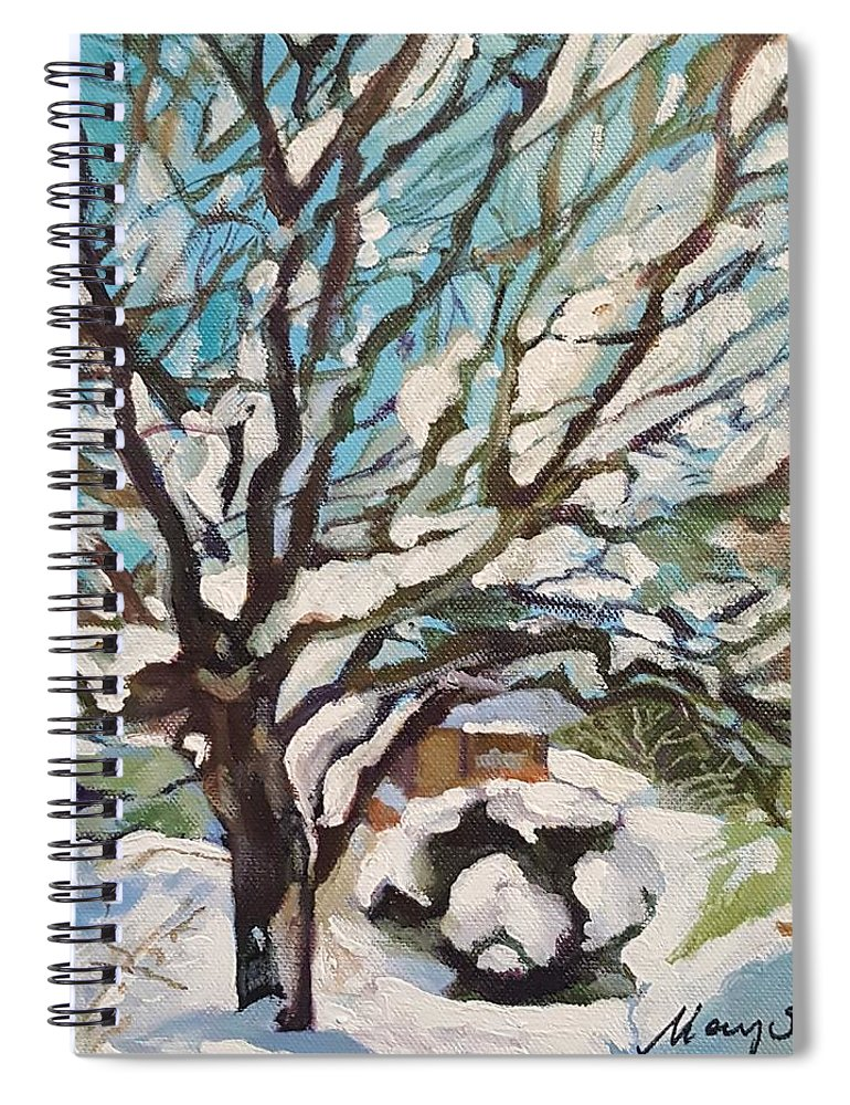 Cherry Tree Spiral Notebook featuring the painting Snow Covered Cherry Tree by Mary Chant