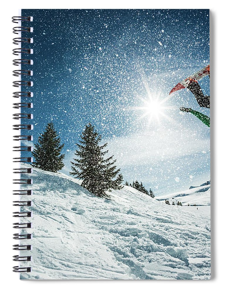 People Spiral Notebook featuring the photograph Snowboarder Doing A Backflip With Snow by © Francois Marclay