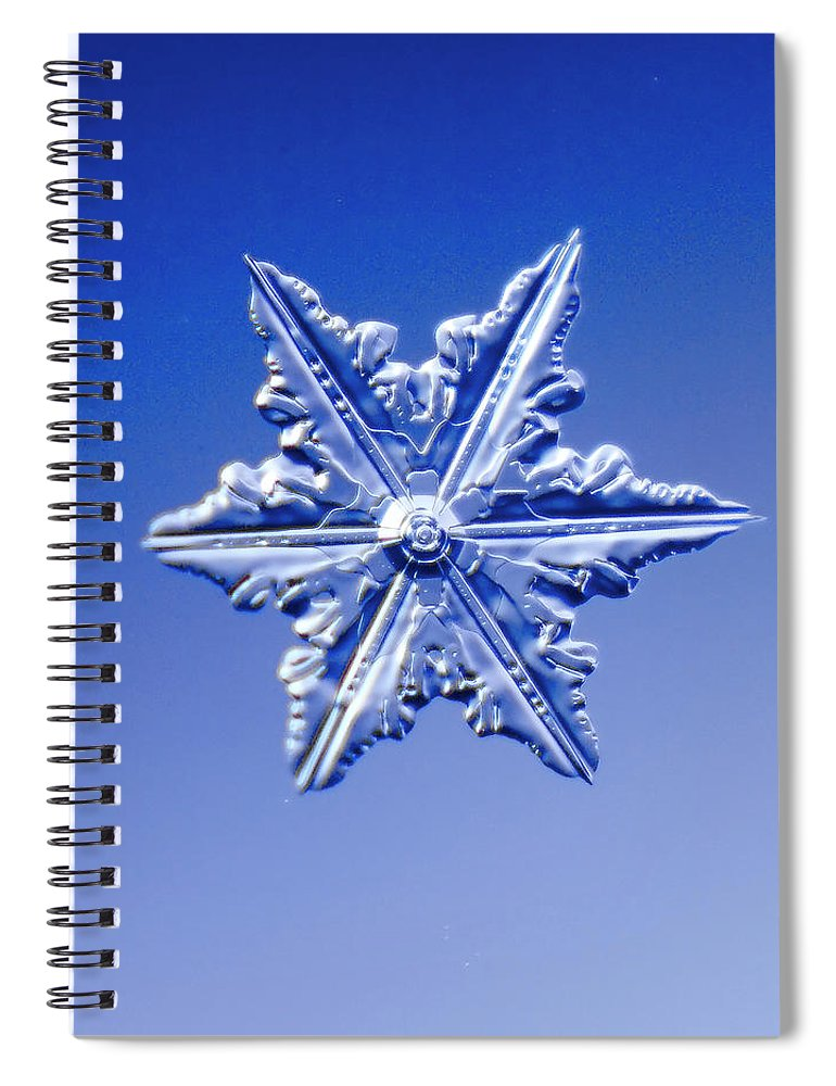 Snow Spiral Notebook featuring the photograph Snowflake On Blue Background by Fwwidall