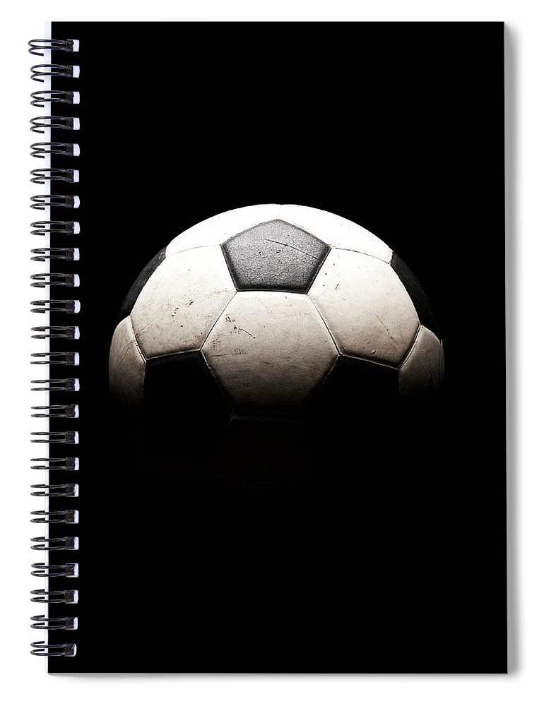 Shadow Spiral Notebook featuring the photograph Soccer Ball In Shadows by Thomas Northcut
