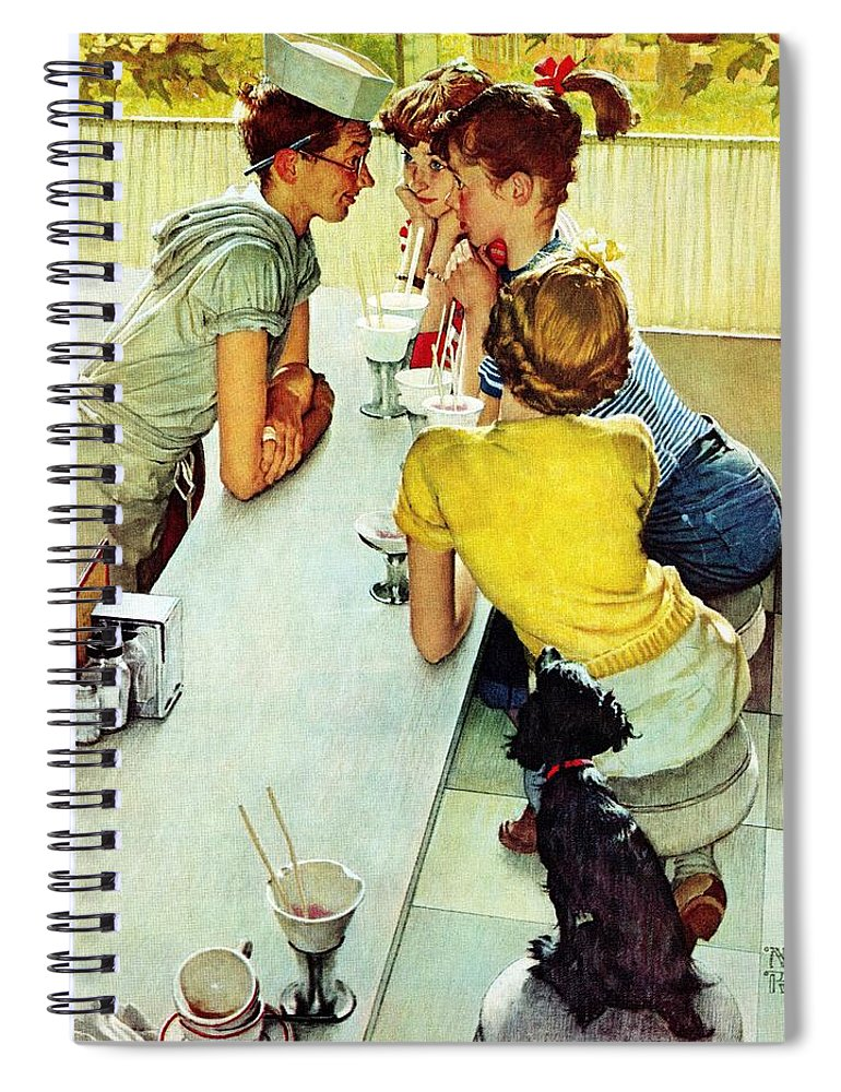 Counterman Spiral Notebook featuring the drawing Soda Jerk by Norman Rockwell