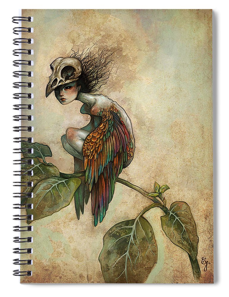 Bird Spiral Notebook featuring the painting Soul of a Bird by Caroline Jamhour