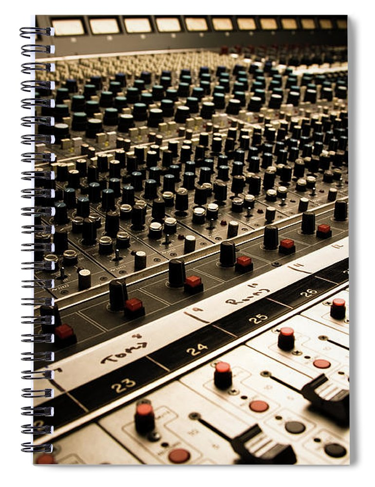 Shadow Spiral Notebook featuring the photograph Sound Board In Color by Halbergman