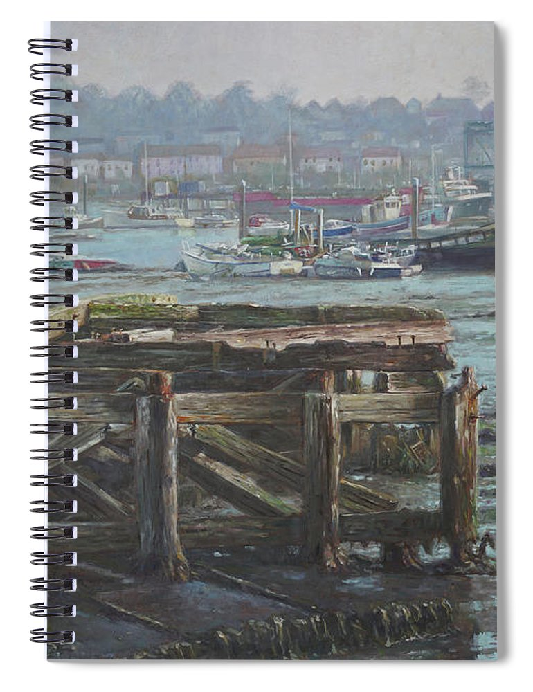 Southampton Spiral Notebook featuring the painting Southampton Northam Summer Evening Across The Itchen by Martin Davey