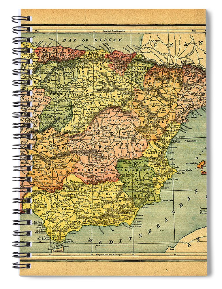Weathered Spiral Notebook featuring the photograph Spain & Portugal Vintage Map by Belterz