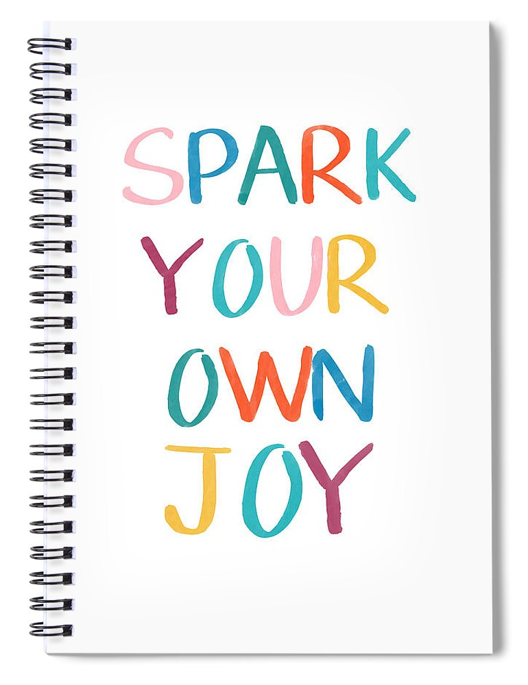 Joy Spiral Notebook featuring the drawing Spark Your Own Joy- Art By Linda Woods by Linda Woods