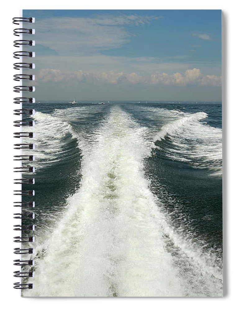 Scenics Spiral Notebook featuring the photograph Speed Boat Wake by Ishootphotosllc