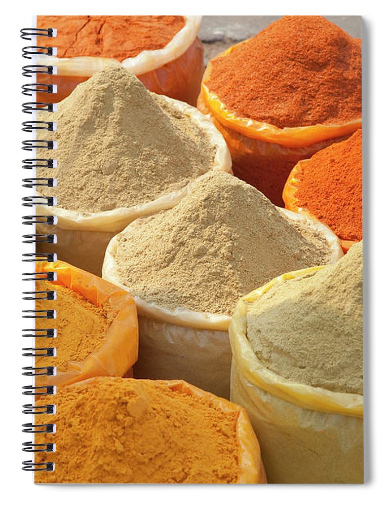 New Delhi Spiral Notebook featuring the photograph Spice Display by Grant Faint