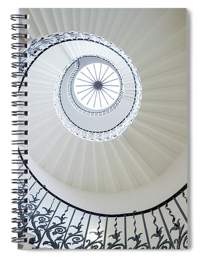 Queen's House Spiral Notebook featuring the photograph Spiral Staircase, The Queens House by Peter Adams
