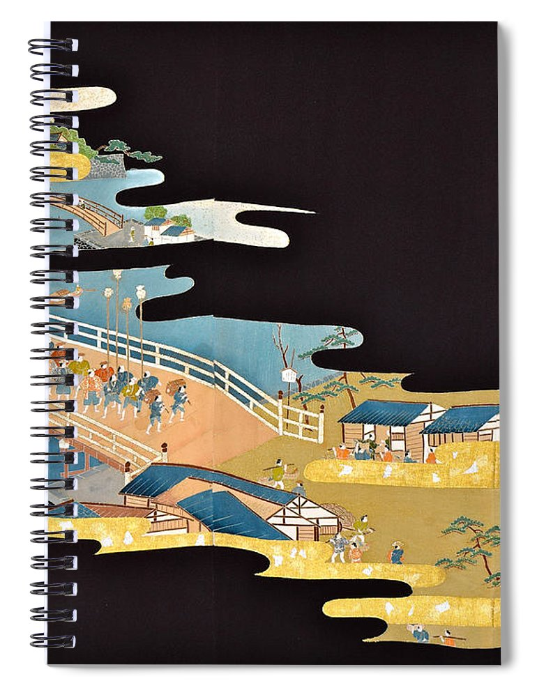 Spiral Notebook featuring the digital art Spirit of Japan T4 by Miho Kanamori