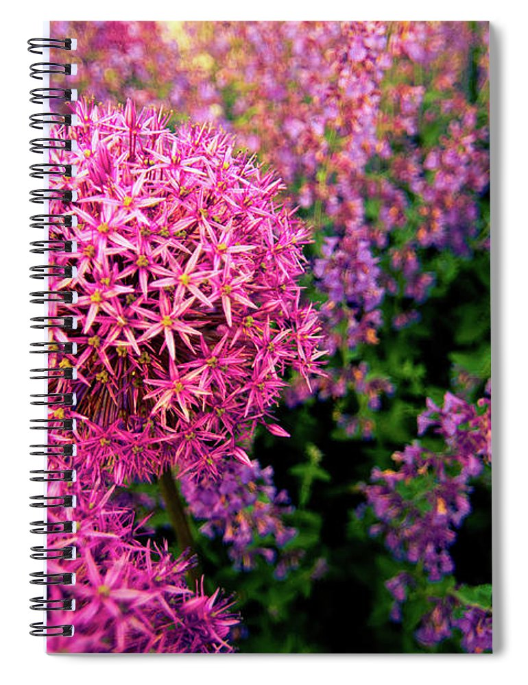 Purple Spiral Notebook featuring the photograph Spring Flowers In Garden by Flash Parker