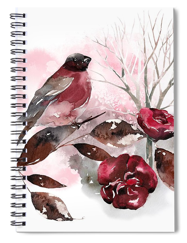 Bird Spiral Notebook featuring the painting Spring Rests In The Heart Of Winter by Little Bunny Sunshine