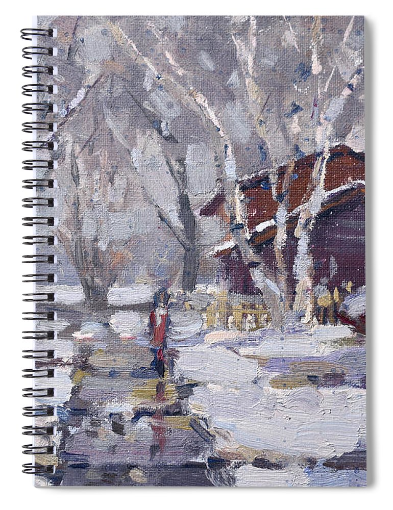 Snoe Spiral Notebook featuring the painting Spring Snow by Ylli Haruni