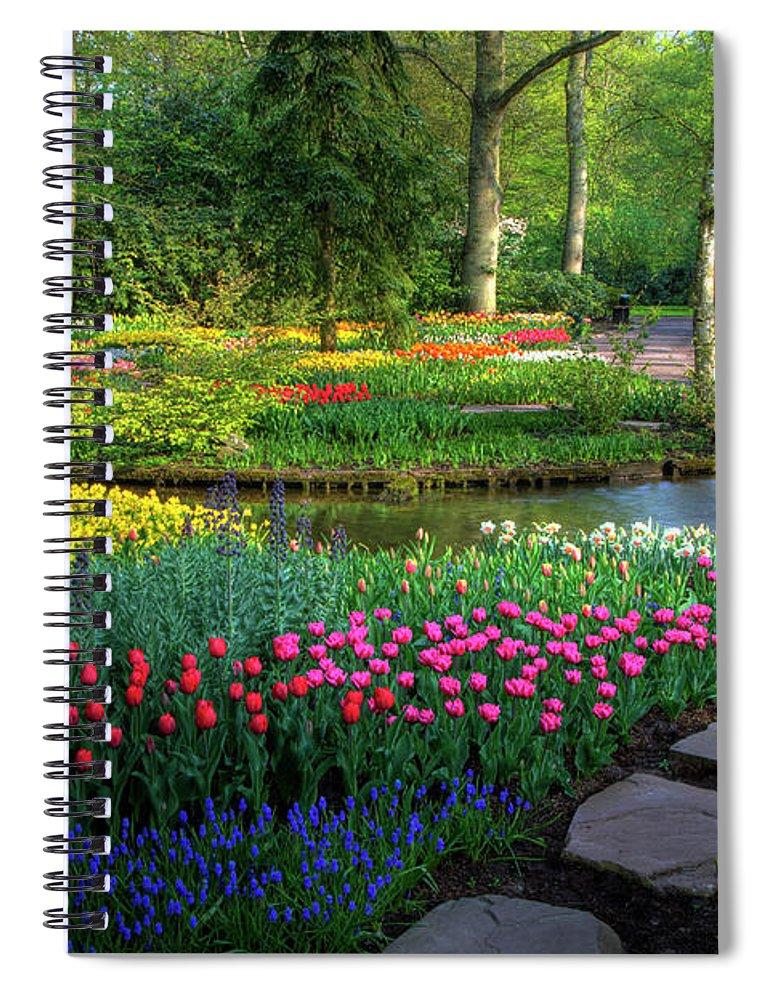 Netherlands Spiral Notebook featuring the photograph Springtime Keukenhof Gardens With by Darrell Gulin