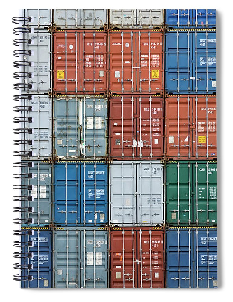 Trading Spiral Notebook featuring the photograph Stack Of Cargo Containers Full Frame by Andy Andrews