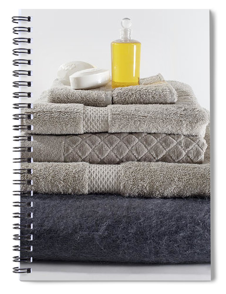 Shadow Spiral Notebook featuring the photograph Stacks Of Folded Towels With A Bar Of by Larry Washburn