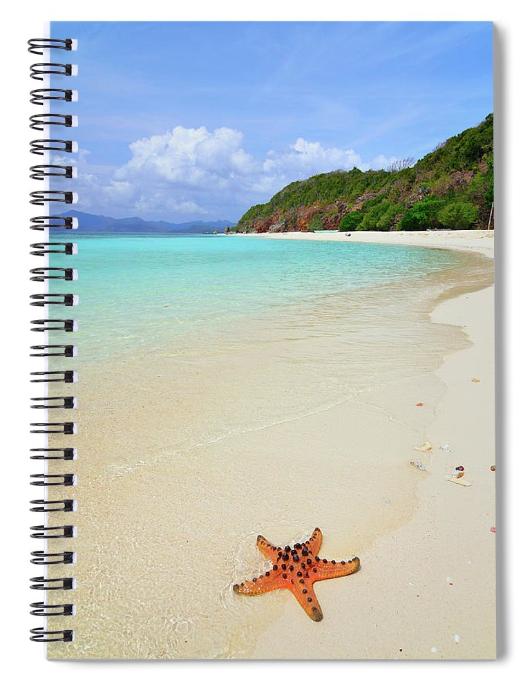 Water's Edge Spiral Notebook featuring the photograph Starfish On Beach Sand by Joyoyo Chen