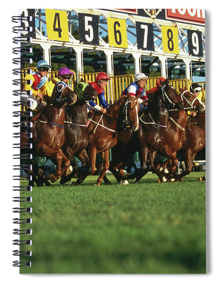 Horse Spiral Notebook featuring the photograph Start Of Horse Race, Sydney, New South by Oliver Strewe
