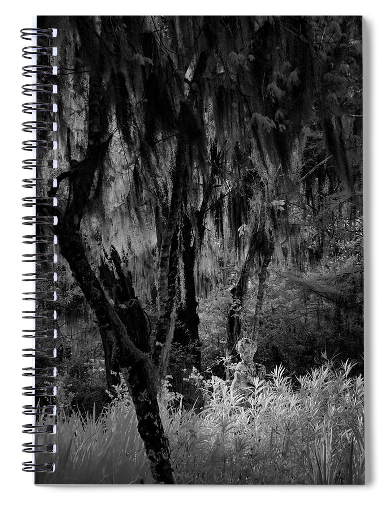 Black And White Spiral Notebook featuring the photograph Statue In The Grass by Jon Glaser