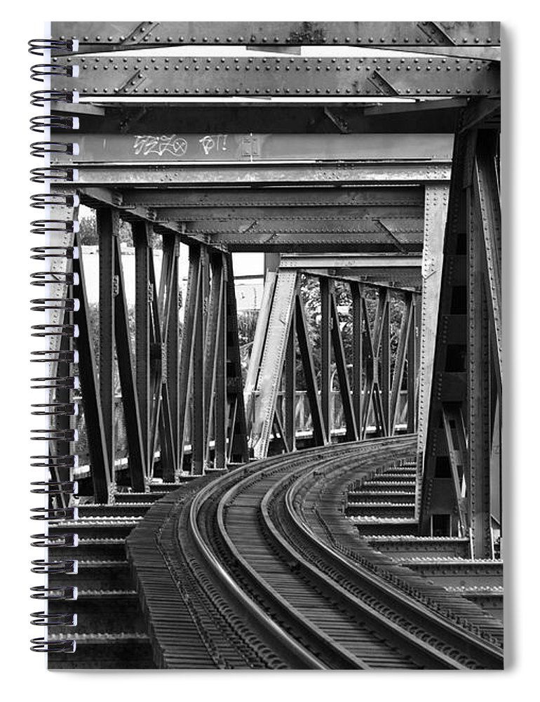 Railroad Track Spiral Notebook featuring the photograph Steel Girder Railway Bridge by Peterjseager