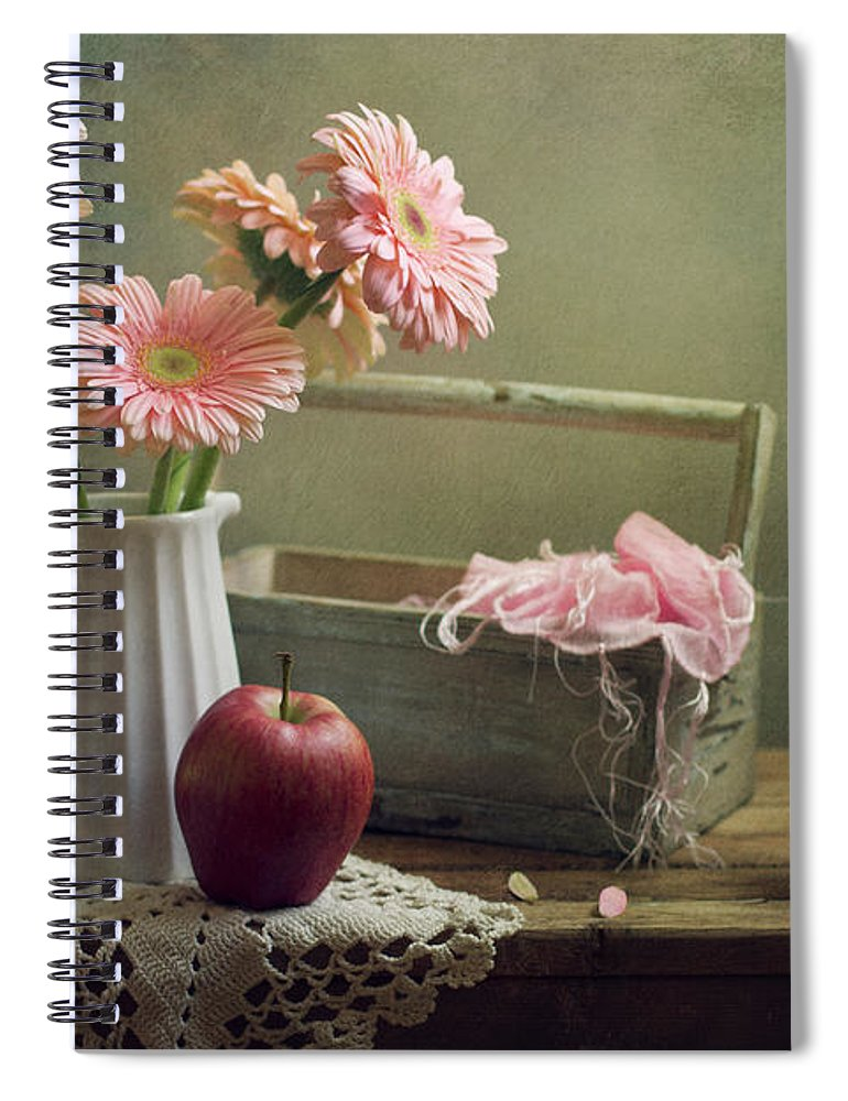 Spoon Spiral Notebook featuring the photograph Still Life With Pink Gerberas And Red by Copyright Anna Nemoy(xaomena)