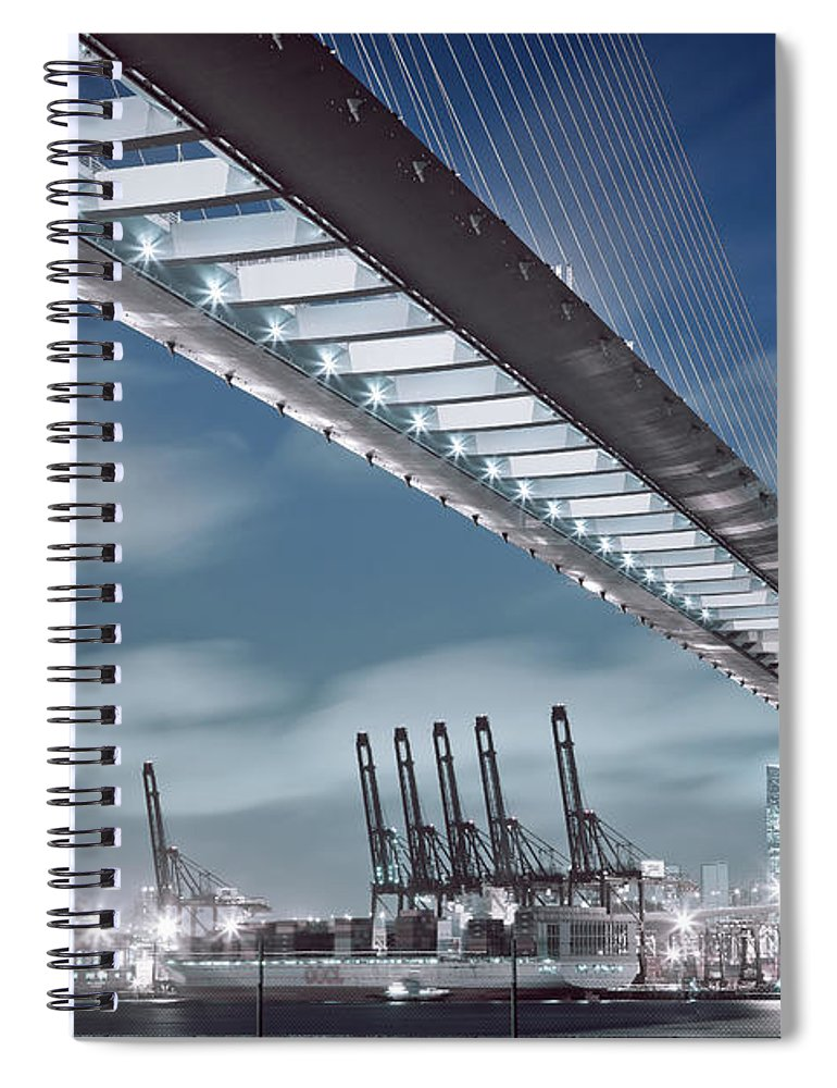 Built Structure Spiral Notebook featuring the photograph Stonecutters And Container Terminal by Andi Andreas